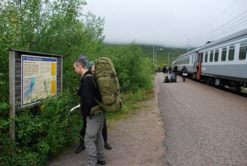 Netop ankommet med tog til Abisko Turstation.